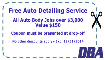 Free Auto Detailing Service with Auto Body Jobs over $3,000
